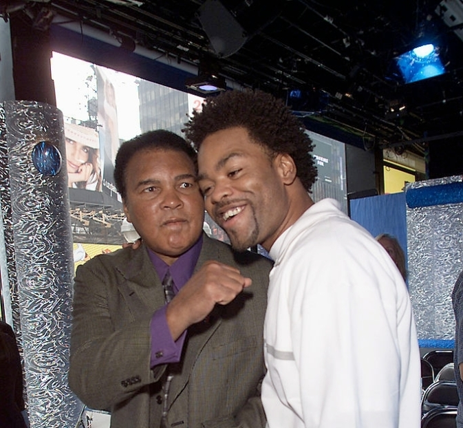 Muhammad Ali and Method Man at the press conference for MTV's Year-Long Pro-Social campaign, 'Fight for Your Rights: Take a Stand Against Discrimination' at the MTV Studios in New York City, 6/14/01. The program will give $50,000 Leadership Scholarships to five young people who are fighting discrimination in their communities. Photo by Frank Micelotta/ImageDirect