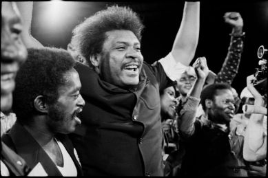 Boxing promoter Don KING rejoicing at the outcome of the fight.