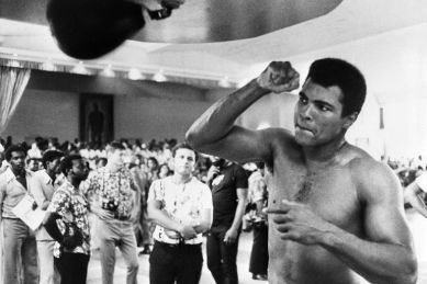 Former world heavyweight champion Muhammad Ali is seen during a training session on September 28, 1974 in Kinshasa, Zaire, before his world heavyweight championship fight against champion in title George Foreman on October 30, 1974. Ali won by knocking out Foreman in the eighth round. (Photo credit should read -/AFP/Getty Images)