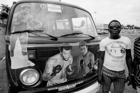 ZAIRE. Kinshasa. ALI-FOREMAN Boxing Fight. Poster on a car announcing the fight between Muhammad ALI and George FOREMAN. 1974.1974.