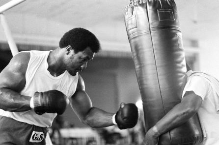 George Foreman is working out after his eye injury, in preparation for his fight against Muhammad Ali in Kinshasa, Zaire on Oct. 2, 1974. (AP Photo/Horst Faas)