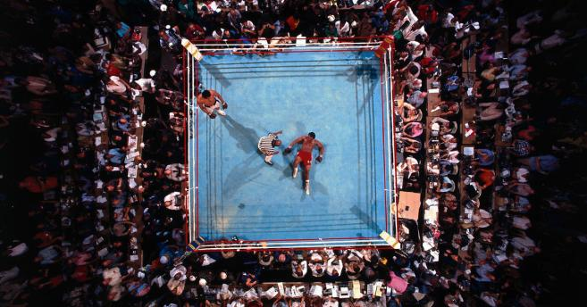 Boxing: WBC/ WBA World Heavyweight Title: Aerial view of George Foreman on canvas during count by referee Zach Clayton after round 8 knockout by Muhammad Ali at Stade du 20 Mai. Kinshasa, Zaire 10/30/1974 CREDIT: Neil Leifer (Photo by Neil Leifer /Sports Illustrated/Getty Images) (Set Number: X19074 TK3 )